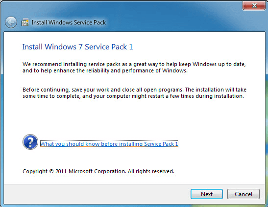 Download Windows 7 Service Pack 1 Offline Installer